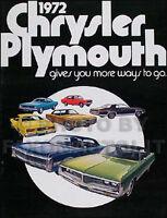 1972 Plymouth Sales Catalog Barracuda Cuda Valiant Satellite Road Runner Sebring