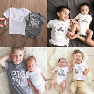 557f9275820b Little Big Brother Sister Baby Boy Girl Kids Romper T-shirt Tops ...