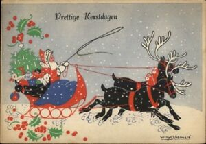 Christmas-Belgian-Santa-Claus-by-Willy-Schermele-4x6-Postcard-2-Used-1946