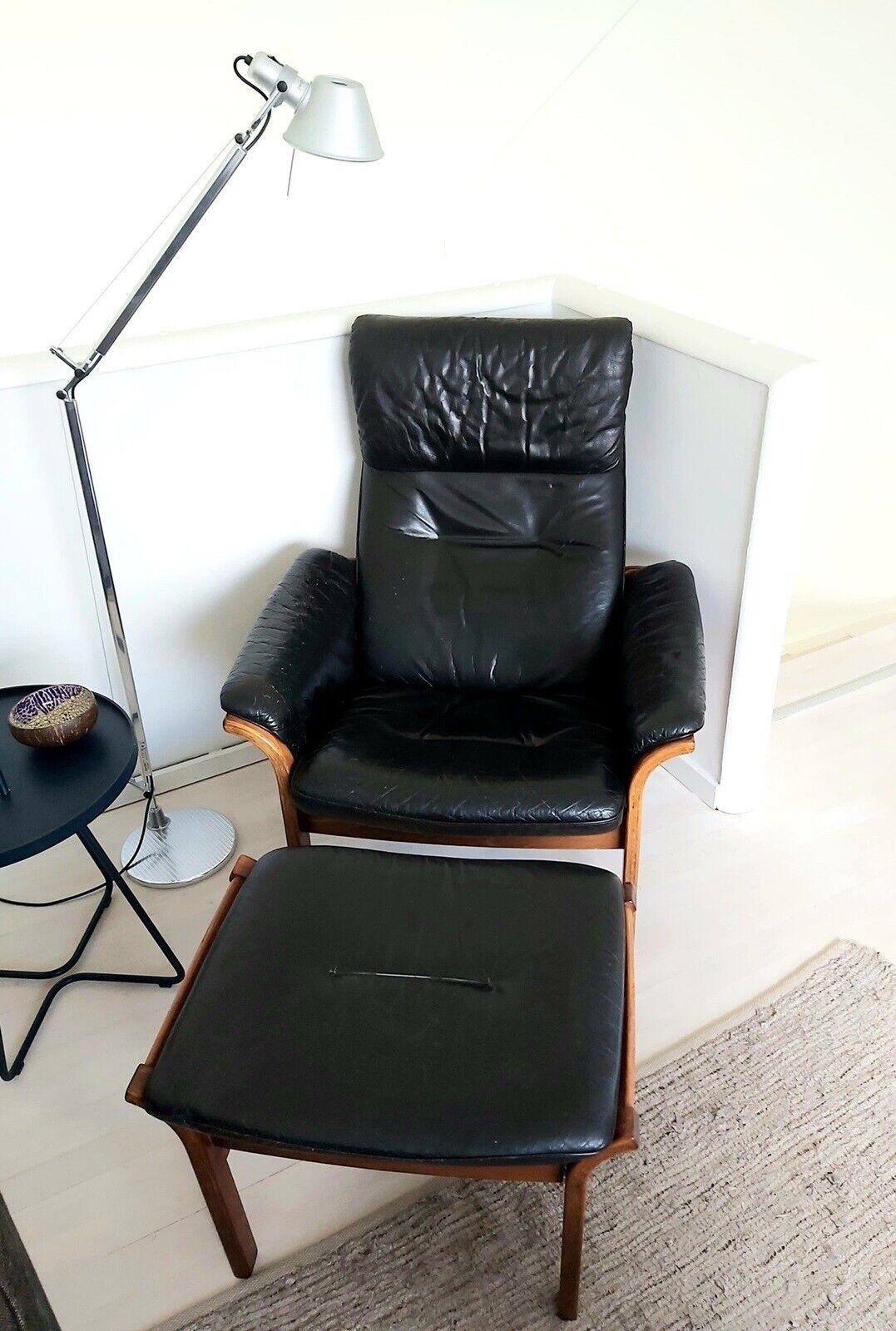 Læderlænestol, læder