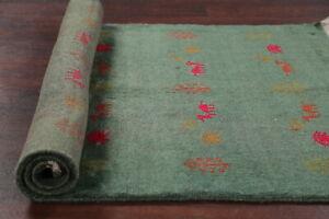 Animal-Theme-GREEN-Tribal-Gabbeh-Area-Rug-Hand-made-Foyer-Plush-Carpet-Wool-3x5