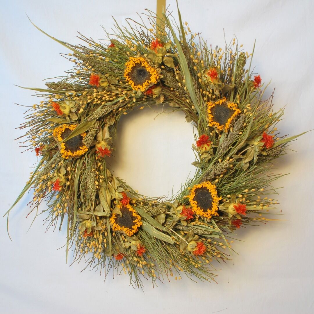 18  SPRING SUMMER DRIED WREATH SUNFLOWER RUSTIC FLORAL NATURAL DOOR DECOR  s c