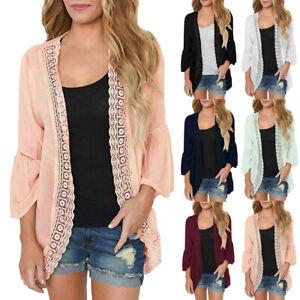 Women-039-s-Casual-Solid-Lace-Long-Sleeve-Chiffon-Cardigan-Loose-Kimono-Blouse-Tops