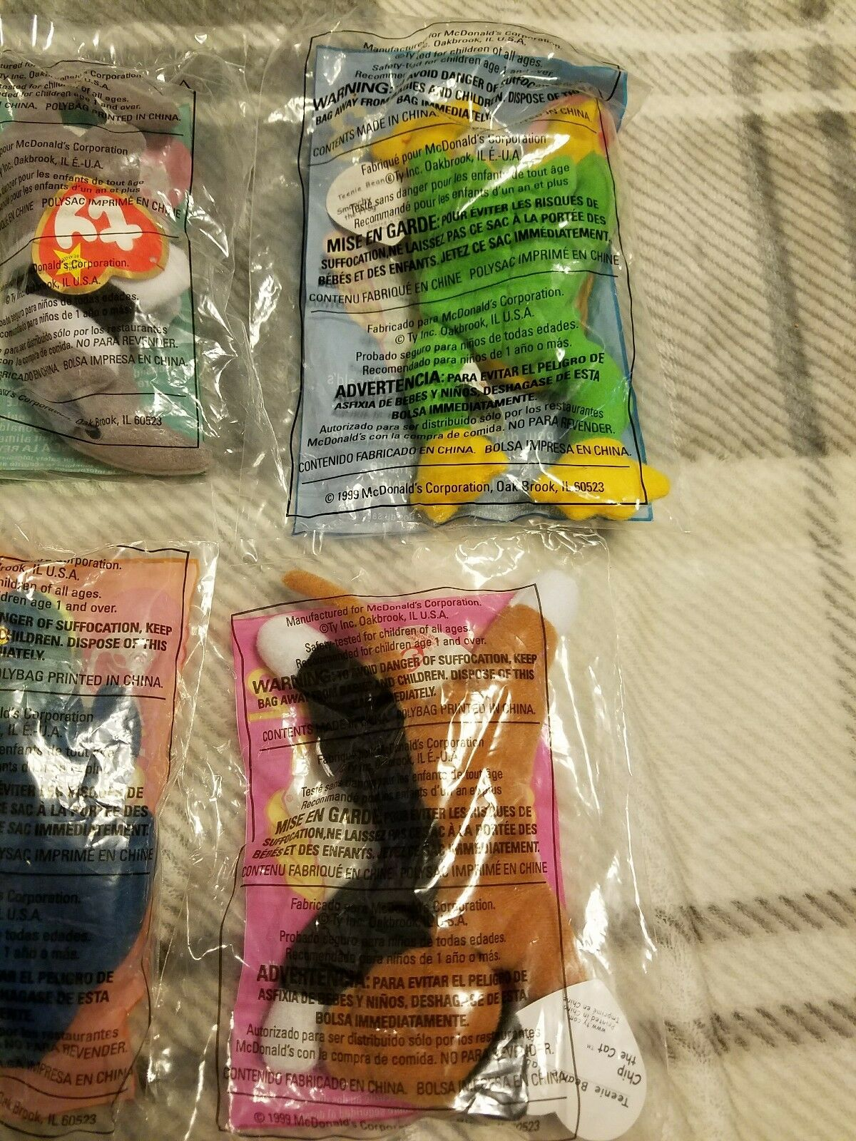 McDonalds TY Teenie Beanies 1993 1999 Set of 6 6 6 NEW Rare Find  Original Bag   9ddbc2