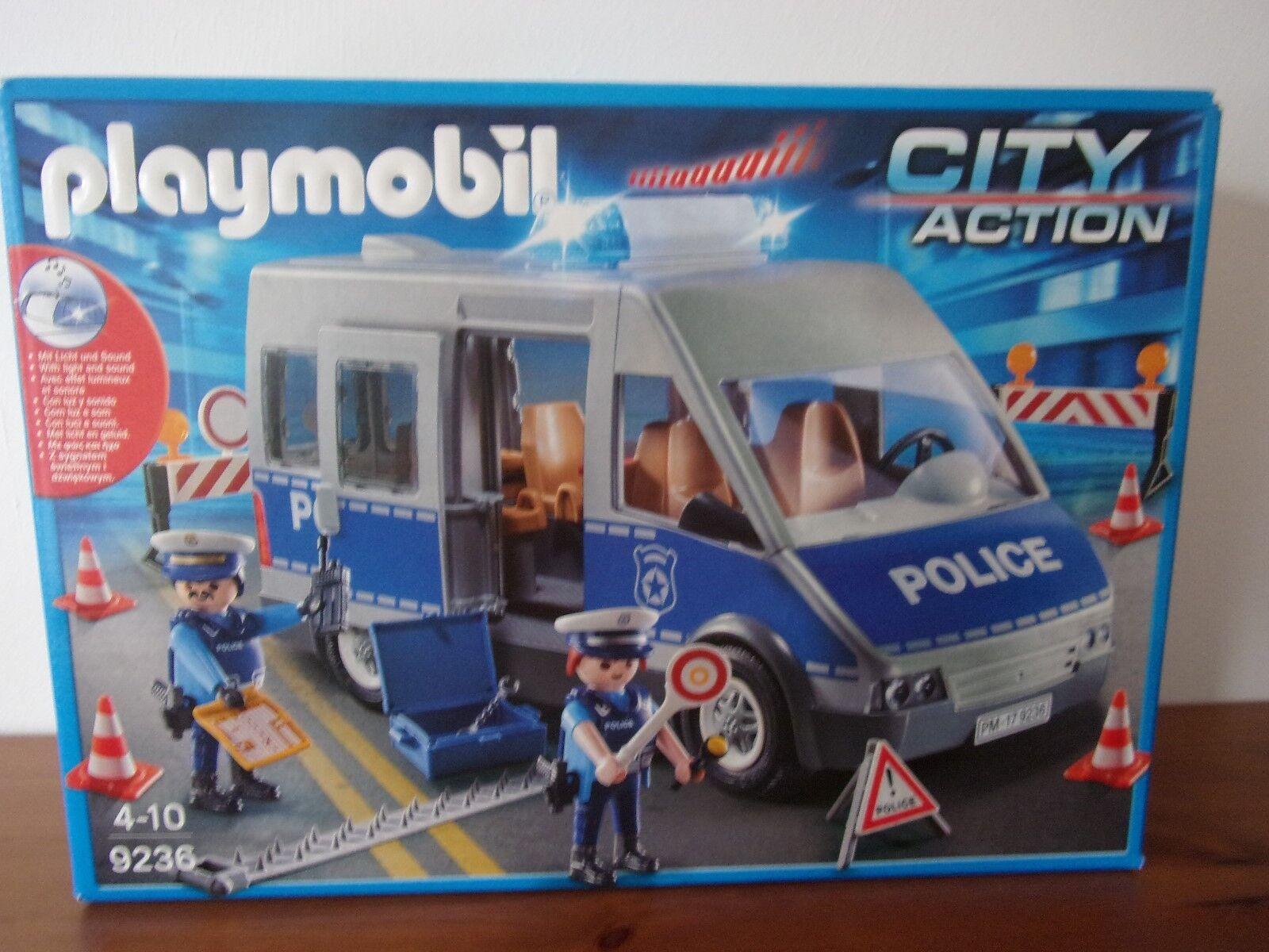 PLAYMOBIL City Action 9236 Police Autobus con straßensperre-Nuovo con imballo