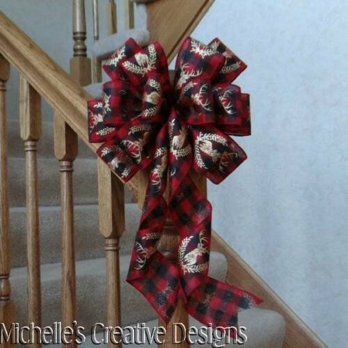 """10/"""" WIDE RED /& BLACK GINGHAM PLAID BOW W//GOLD DEER PATTERN~WREATHS~TREE TOPPER"""