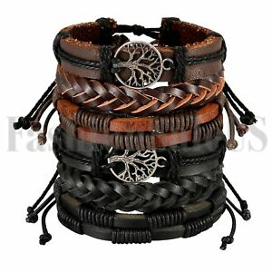 6pcs-Mix-Wrap-Leather-Ethnic-Tribal-Beaded-Men-Women-Cuff-Wristband-Bracelet-Set