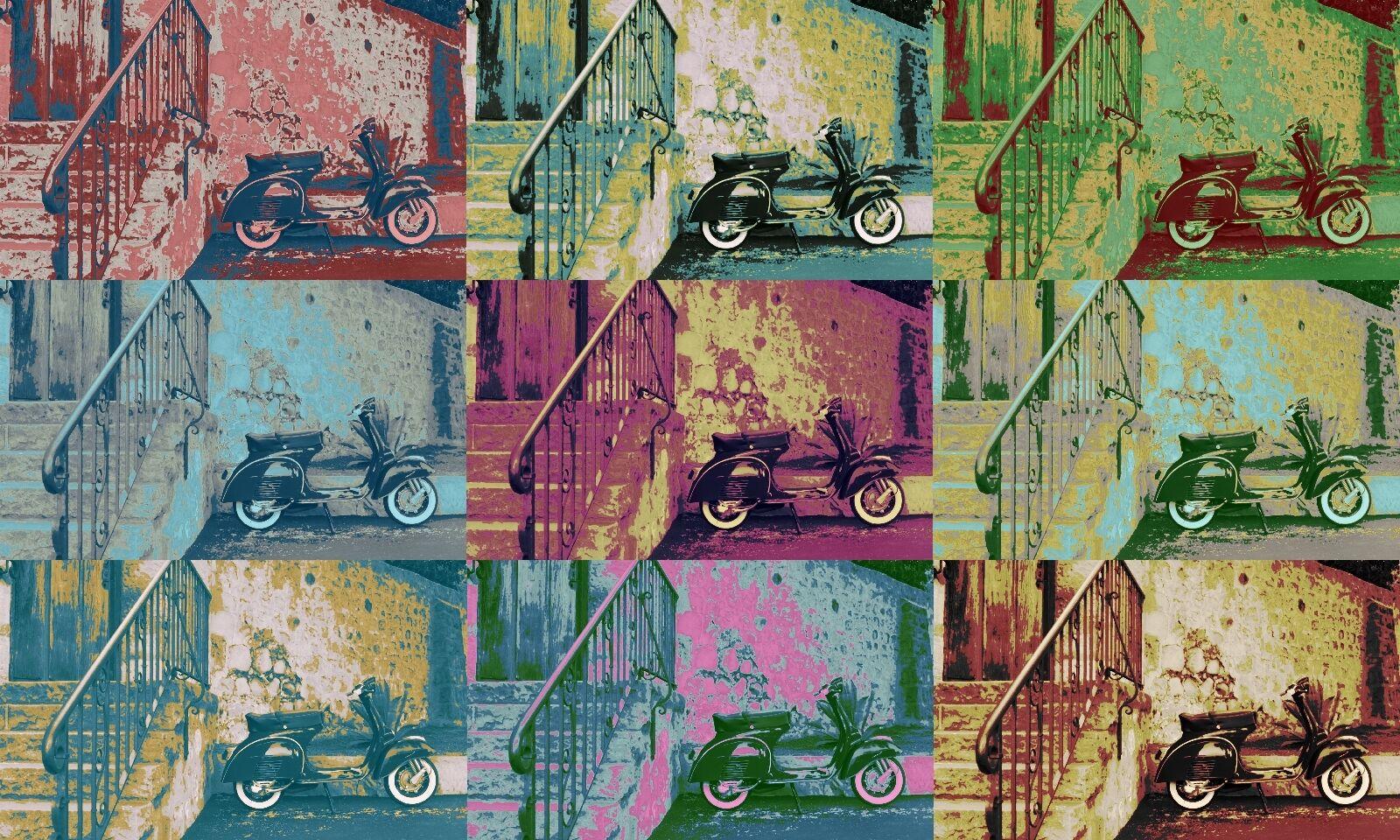 LEINWAND BILD BILDER XXL POP POP POP ART VESPA 1966 QUADROPHENIA ANDY WARHOL BIS 150x90 907c70