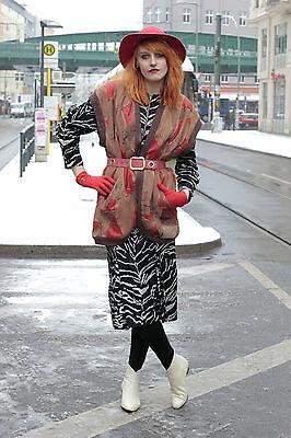 Intelligente Charisma Donna Gilet In Pelle Lavorazione A Maglia Vest Marrone Brown Rosso Red 70er True Vintage 70s-