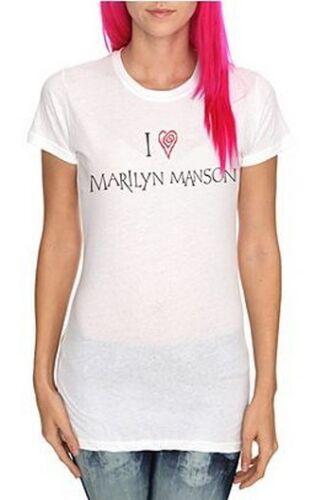 MM LOVE HEART T SHIRT Metal Juniors I HEART MARILYN MASON Fitted White Tee