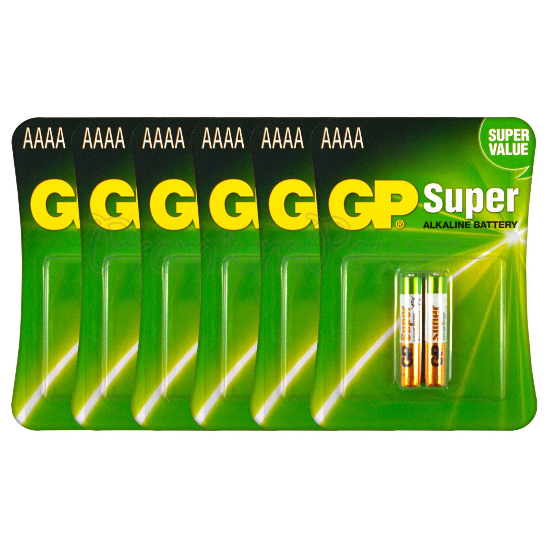 12 x GP Alkaline Super AAAA lr8d425 Batteries 1.5v mx2500 lr61 2 pack