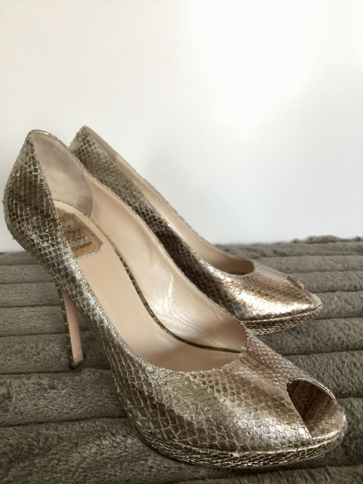Auth. Christian Dior Miss Dior Snake Skin gold Silver Platform Pumps Heels, 40