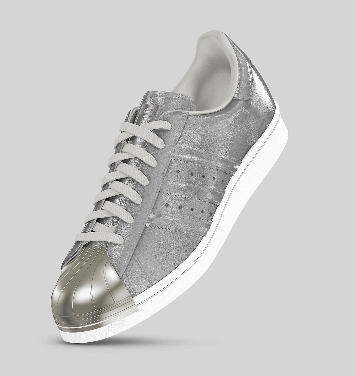 New Adidas Superstar Silver Metallic Mono Custom Mi Mens Authentic Shoes