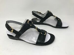 New-Women-039-s-Franco-Sarto-Gili-Casual-Leather-Flat-Sandals-Black-33Q