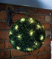 2 x 28CM DUAL FUNCTION SOLAR POWERED TOPIARY GARDEN BALL SPHERE LED LIGHTS NEW