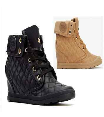Quilted Wedge Trainers Mid Heel Sneakers High Top Hi Ankle Boot UK 3-8