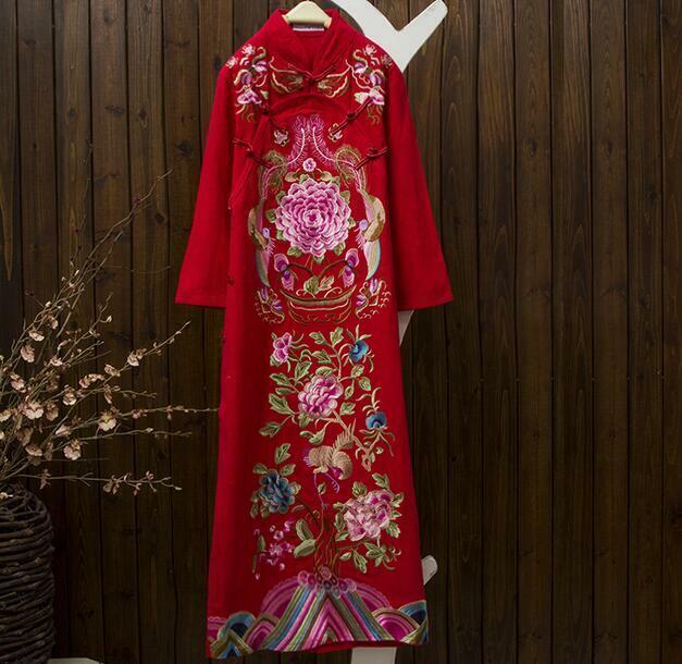 Ethnic Cotton Womens Embroidery Semicircular Flap Flap Flap Loose Cheongsam Dress Lm14 13334c