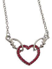 Collier, pendentif Coeur et ailes d'ange strass Cristal rouge, R4.