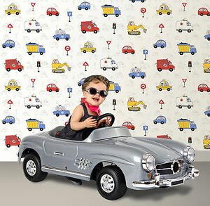 Debona Cars Fire Engine Trucks Road Traffic Boys Bedroom Wallpaper