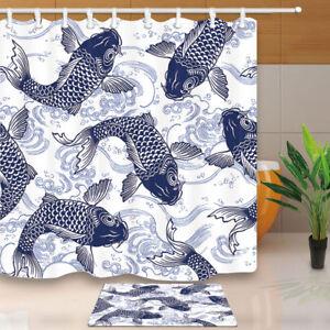 Image Is Loading Japanese Koi And Waves Shower Curtain Bathroom Decor