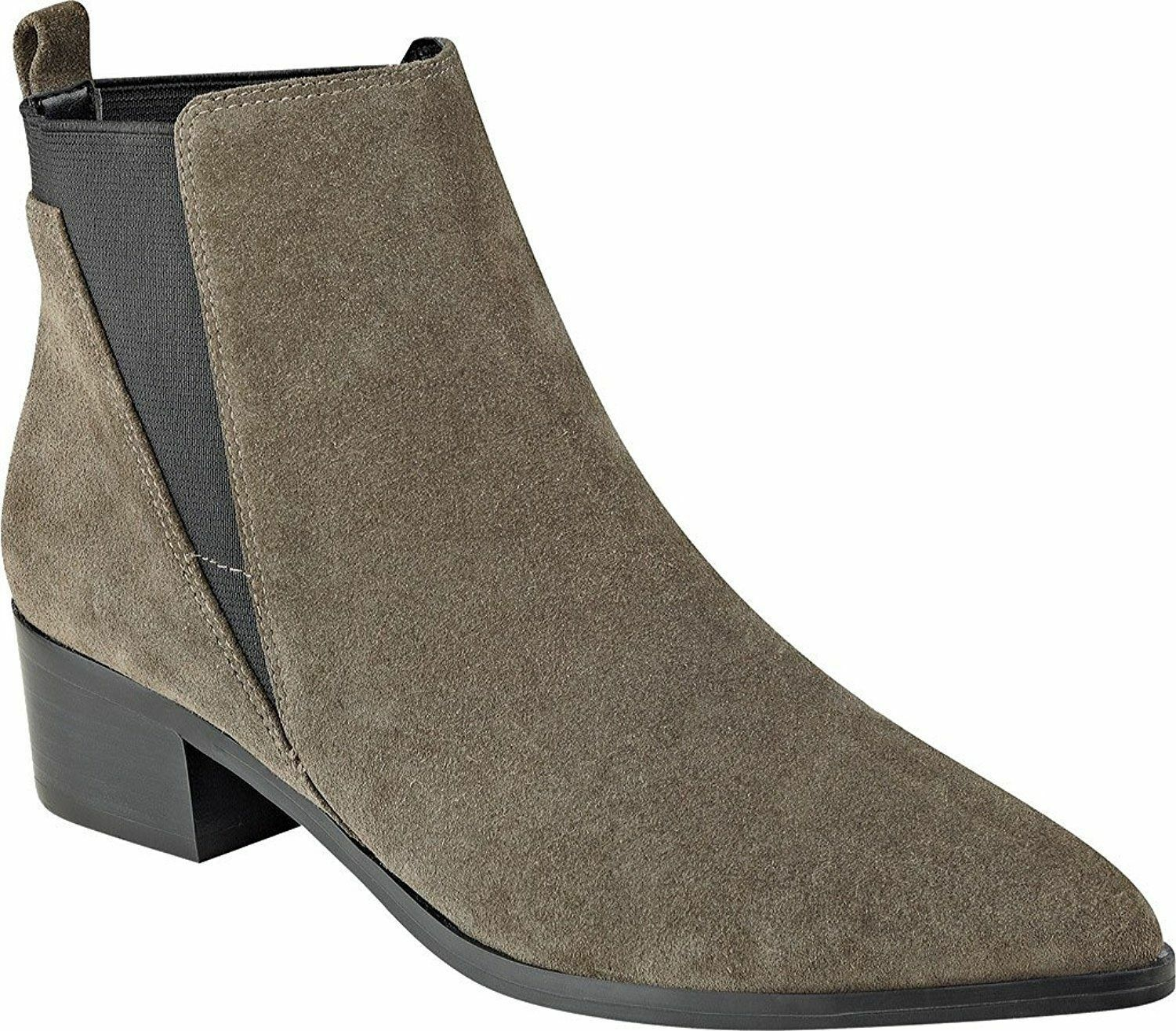 NEW - MARC FISHER Women's 'IGNITE' Grey LEATHER POINTED TOE ANKLE  BOOTS - 10 M