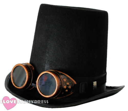 STEAMPUNK TOP HAT AND BRONZE GOGGLES GOTHIC SCI FI VICTORIAN FANCY DRESS COSTUME