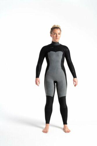 C-SKINS Womens Solace 4:3 ChestZip Steamer Wetsuit Raven Black//Unity//Green Ash