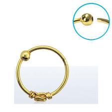 """Nose Ring Hoop 18KT Gold Plated 3/8"""" - 8.8mm Indian Tribal Design 22 Gauge 22G"""