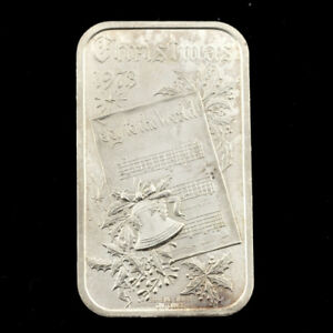 ONE-OZ-999-SILVER-BAR-Christmas-1973-by-Madison-Mint
