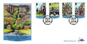 Tristan da Cunha 2016 FDC British Garrison Bicentenary 4v Set Cover Ships Stamps