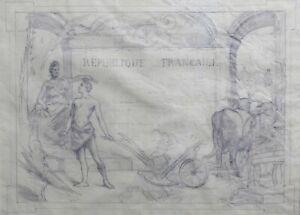 Émile L. Tazin (1858-1922) Projekt Bierdiplom Zeichnung Au Bleistift
