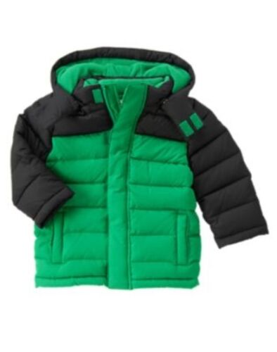 GYMBOREE ICE ALL-STAR GREEN COLORBLOCK PUFFER  HOODED JACKET 6 12 24 2 3 4 5 NWT