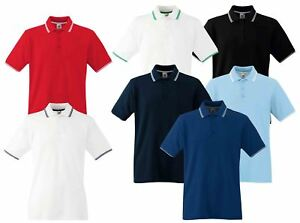 caac3fe7 Fruit Of The Loom Mens Men's Tipped Cadat collar Polo Shirts T-shirt ...