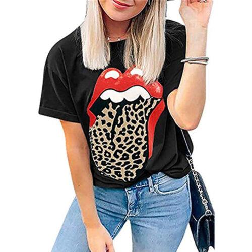Women Short Sleeve Lip Leopard Tongue Print T-Shirt Summer Casual Loose Tops Tee
