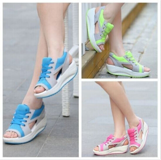 New Fashion Women Lady Rocker Bottom Sandals Shoes Peer Toe Shape Up All Size