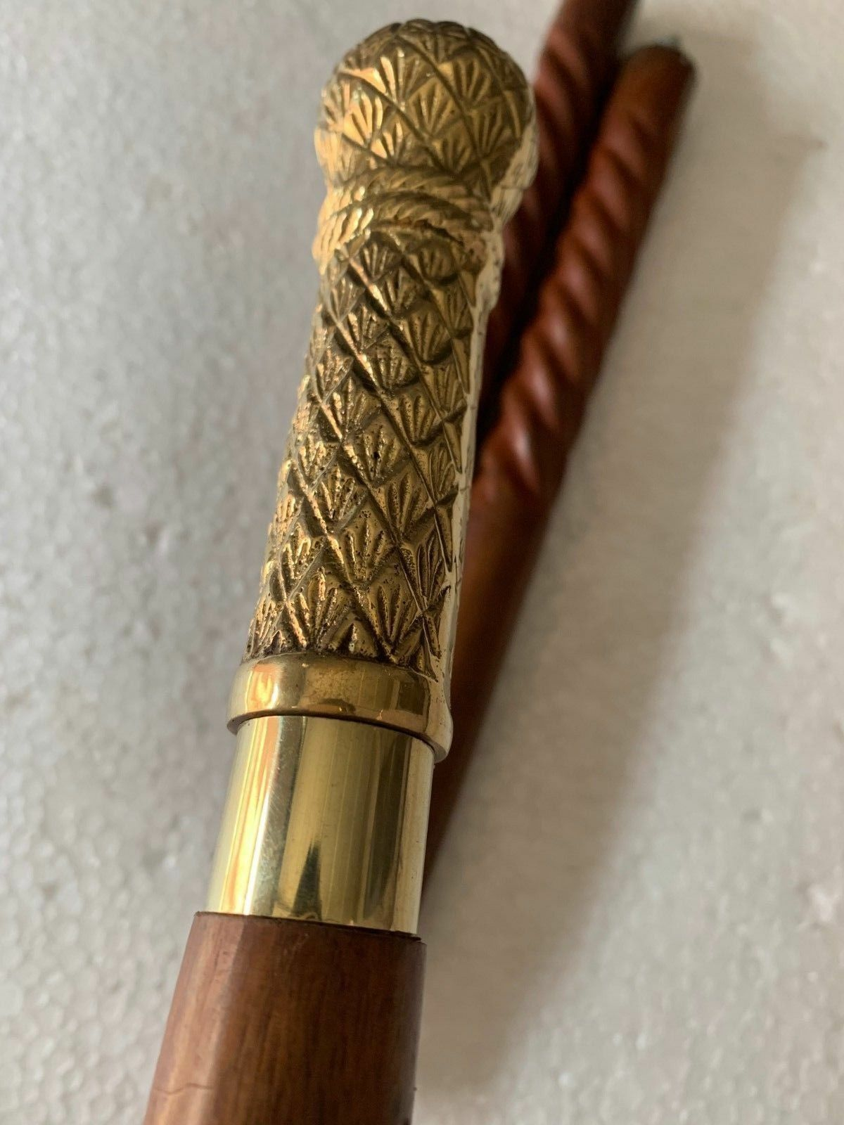 Designer Victorian Handle Canes Wooden Spiral Antique Walking Stick Carved 37