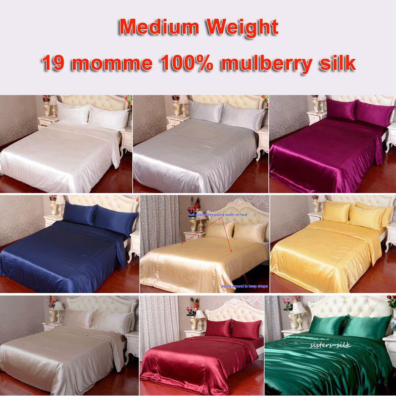 4pc 19mm 100% Mulberry Silk Duvet Quilt Cover Flat Top Sheet Pillow Case Set