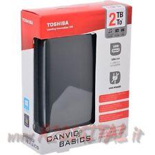 """HARD DISK TOSHIBA HDTB320EK3CA 2TB USB 3 ESTERNO HD 2,5"""" PICCOLO AUTO ALIMENTATO"""