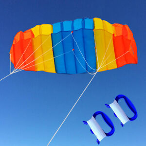 55in-1-4m-Dual-line-Power-Stunt-Parafoil-Parachute-Sports-Beach-Kite-Surfing-NEW