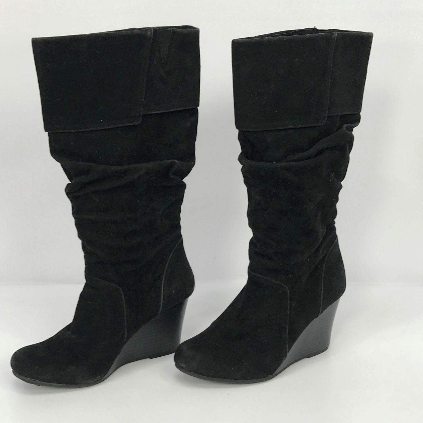 Size 7 Womens Boots Round Black Knee High Slouch Round Boots Toe Wedge Heels d737c1