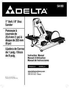 delta sa180 1 belt 8 disc sander instruction manual ebay rh ebay com