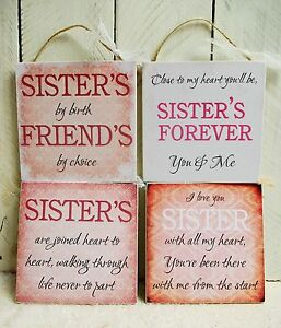 Handmade Plaque Sign Gift Present Sister Sayings Quotes Christmas