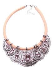 Statement-Pink & Blush Pink Diamante & Gem Bib & Brown Chord Necklace(Ns12)