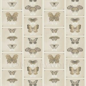 Dolls-House-Miniature-Light-Brown-Butterfly-Striped-Wallpaper