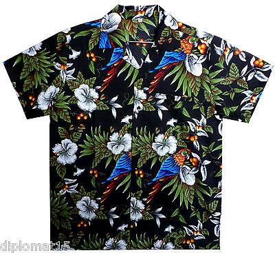 Funky Hawaiihemd, Kirsch Papagei, schwarz, XS-12XL