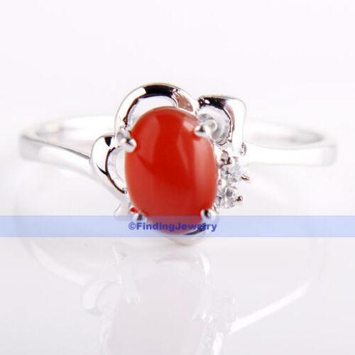 Vintage1CT Oval Gemstone 925 Sterling Silver Carnelian Ring Size 7 6.75 6FJUS