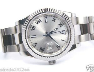 003a PARNIS SUBMARINER OYSTER 41MM OVERSIZE SILVER ROMAN DIAL AUTO MEN WATCH