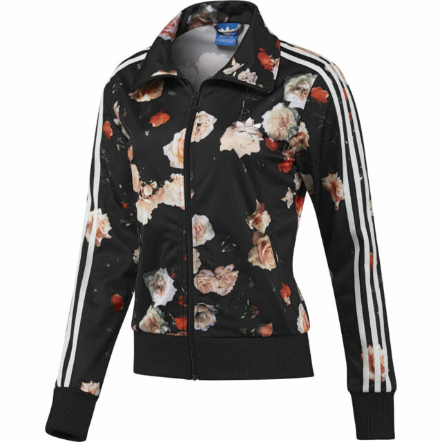 %ADIDAS WOMEN FIREBIRD ROSE FLOWERS BLACK TRACK TOP JACKET S M L