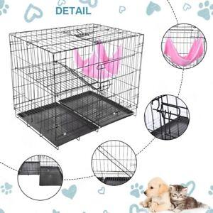 Folding-Metal-Pet-Dog-Cat-Cage-Playpen-Single-Door-amp-Double-Door-Dog-Crates-New