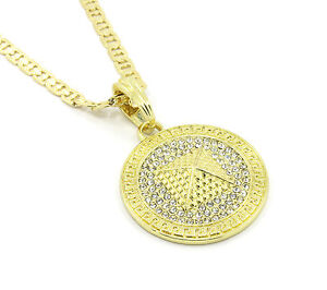 70a09eeed769f Details about Mens Medallion Pyramid Pattern Gold Clear Pendant 24